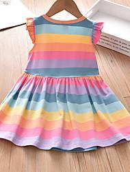 cheap -Kid's Little Girls' Dress Rainbow Light Blue Sleeveless Rainbow Vest Dress 19043 Dresses