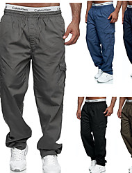 cheap -Men's Cargo Casual / Sporty Outdoor Sports Pants Chinos Casual Sports Pants Solid Color Full Length Drawstring Elastic Waist Blue Black Dark Gray Brown Navy Blue