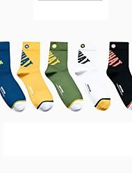 cheap -Fashion Sport Men's Socks Multi Color Solid Colored Socks Medium Casual Multi color 5 Pairs