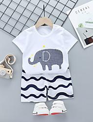cheap -Kid's Boys' T-shirt & Shorts 2 Pieces Short Sleeve DT16-Tibetan blue big G DT16-White Fox DT16-Blue Fox on White Cartoon Cotton Chic & Modern