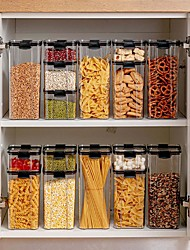 cheap -4-Piece Set Food Storage Container Plastic Kitchen Refrigerator Noodle Box Multigrain Storage Tank Transparent Sealed Cans