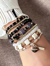cheap -Women's Bracelet Geometrical Heart Stylish Simple Alloy Bracelet Jewelry Light Coffee / Blue / Black For Daily Promise