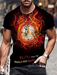cheap -Men's Unisex Tee T shirt Shirt 3D Print Graphic Prints Clock Print Short Sleeve Daily Tops Casual Designer Big and Tall Black