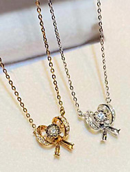 cheap -Women's Clear AAA Cubic Zirconia Pendant Necklace Bow Bowknot Dainty Fashion Korean Cute Brass Silver Gold 50 cm Necklace Jewelry 1pc For