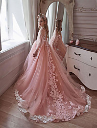 cheap -A-Line Sweep / Brush Train Flower Girl Dresses Party Chiffon Long Sleeve V Neck with Appliques