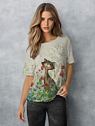 cheap -Women's T shirt Floral Flower Animal Long Sleeve Print Round Neck Basic Tops Beige