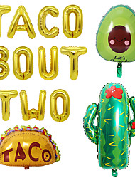 cheap -Mexican Party Decoration Taco Bout Two Cactus Avocado Aluminum Film Balloon Set
