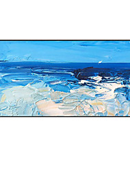cheap -Oil Painting Handmade Hand Painted Wall Art Horizontal Modern Blue and White Abstract Pop Art Home Decoration Decor Rolled Canvas No Frame Unstretched