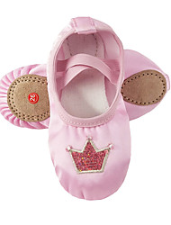 cheap -Girls' Ballet Shoes Practice Trainning Dance Shoes Sneaker Sequin Pattern / Print Flat Heel Round Toe Pink Elastic Band Slip-on Children's Embroidery Comfort Shoes Ballerina / Performance / Satin