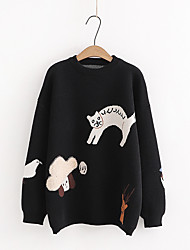 cheap -Women's Pullover Sweater Modern Style Cat Active Casual Long Sleeve Sweater Cardigans Round Neck Fall Winter Black / Holiday