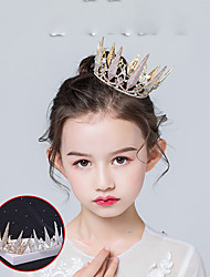 cheap -Baroque Retro Gold Wedding Dress Wedding Crown Hair Accessories Children's Princess Birthday Party Performance Crown