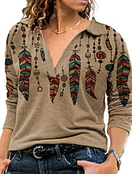 cheap -Women's Plus Size Tops Blouse Pullover Sweatshirt Graphic Butterfly Print Long Sleeve V Neck Streetwear Fall Winter geometry feather Continue to add color Big Size 3 XL 4 XL 5 XL S M / Shirt Collar