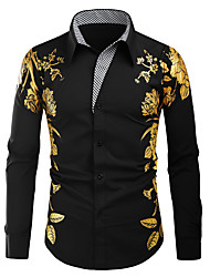 cheap -Men's Shirt Graphic Long Sleeve Daily Tops Fashion Vintage White Black Red