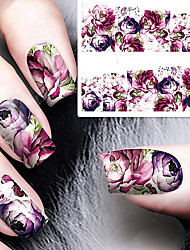 cheap -10 Pcs Nail Sticker Embossed Pink Small Daisy Flower Water Decals Empaistic Nail Water Slide Decals