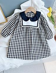 cheap -[100-140cm]girls' plaid doll collar long sleeve dress