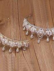cheap -Bridal Jewelry Headdress Crown Baroque Hair Ornament Korean Wedding Dress Accessories Handmade Crystal Beads Wedding Hair Hoop