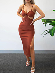 cheap -Sheath / Column Sexy bodycon Holiday Party Wear Dress V Neck Spaghetti Strap Sleeveless Tea Length Spandex with Sleek Split 2021