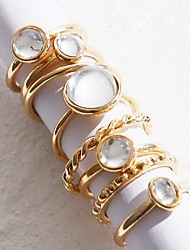 cheap -Women's Clear Gemstone Ring Set Retro Stylish Simple Elegant Vintage European Earrings Jewelry Silver / Gold For Anniversary Party Evening Street Gift Festival