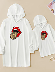 cheap -Dresses Mommy and Me Leopard Daily Print White Long Sleeve Above Knee Daily Matching Outfits / Fall / Winter / Cute