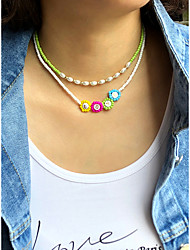 cheap -Women's Beaded Necklace Beads Colorful Holiday Modern Casual / Sporty Glass Alloy 40 cm Necklace Jewelry 1pc For Gift Prom Birthday Party Beach Festival