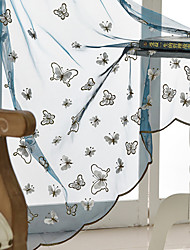 cheap -Two Panel Children's Room Cartoon Style Butterfly Embroidered Window Screen Living Room Bedroom Dining Room Translucent Tulle