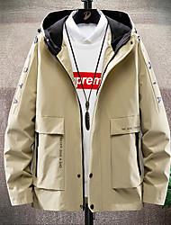 cheap -Men's Jacket Daily Fall Spring Regular Coat Stand Collar Regular Fit Breathable Casual Jacket Long Sleeve Letter Print Khaki Light Grey Black