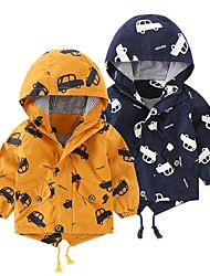 cheap -Kids Boys' Jacket & Coat 1pc Long Sleeve Yellow quilted Navy blue quilted Yellow Car Daily Wear Casual Daily 2-6 Years / Winter
