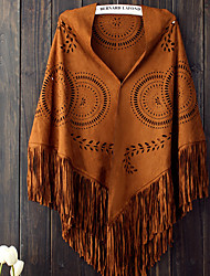 cheap -European And American Style Deerskin Velvet Large Triangle Large Shawl Scarf Sunflower Air Conditioning Dual Geometric Tassel Autumn And Winter Women 80*165cm