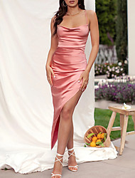 cheap -Sheath / Column Sexy bodycon Holiday Wedding Guest Dress Spaghetti Strap Sleeveless Ankle Length Spandex with Split Strappy 2021