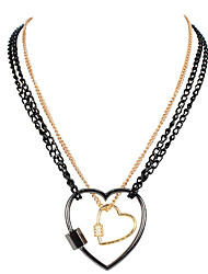 cheap -thin chain metal necklace simple personality diamond love lock pendant necklace female