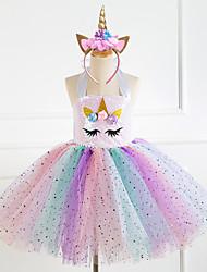 cheap -Princess Fairytale Unicorn Dress Cosplay Costume Party Costume Girls' Movie Cosplay Cosplay Tutus Pink Rainbow Dress Headwear Christmas Halloween Children's Day Polyester