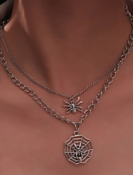 cheap -Women's Party Halloween Daily Spider Spider web Silver Necklaces