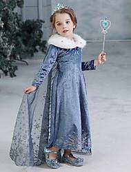 cheap -[3y-11y] snowflake print princess dress