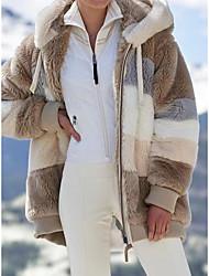 cheap -Women's Plus Size Coat Striped Daily Vacation Long Sleeve Hooded Regular Fall Winter ArmyGreen caramel colour Blue L XL 2XL 3XL 4XL