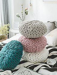 cheap -Floor Pillow High Quality Home Office Solid Color DIY Weave Round shape Refreshing Pillow Include Pillow Core Living Room Bedroom Sofa Cushion