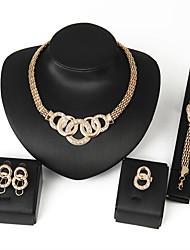 cheap -Jewelry Set fashion alloy banquet Necklace Earrings Bracelet Ring Set