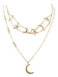 cheap -style sweet jewelry alloy star diamond moon pendant necklace fashion jewelry