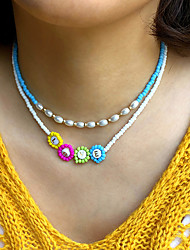 cheap -Women's Beaded Necklace Necklace Beads Colorful Holiday Cute Sweet Imitation Pearl Glass Alloy Blue Yellow Green 40 cm Necklace Jewelry 1pc For Gift Prom Birthday Party Beach Festival