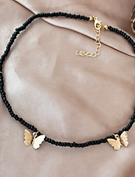 cheap -Women's Choker Necklace Beaded Necklace Handmade Butterfly Simple Fashion Vintage European Imitation Pearl Alloy White Black 37-42 cm Necklace Jewelry 1pc For Party Evening Street Prom Birthday Party