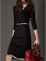 cheap -Women's A Line Dress Knee Length Dress Black 3/4 Length Sleeve Leopard Print Fall Spring V Neck Business Retro S M L XL XXL XXXL