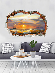 cheap -3D Landscape Wall Stickers Bedroom Living Room Removable Pre-pasted PVC Home Decoration Wall Decal 1pc