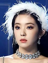 cheap -Female Cute White Feather Headband Star Bride Hair Accessories Ins Wedding Antique Headdress