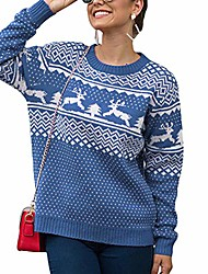 cheap -Women's Pullover Sweater Classic Style Christmas Casual Christmas Long Sleeve Sweater Cardigans Round Neck Fall Winter Blue Grey Green / Holiday