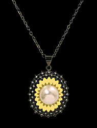 cheap -Women's Clear Ivory Pearl Pendant Necklace Color Block Floral / Botanicals Sunflower Personalized Artistic Unique Design Ethnic Brass Black 50 cm Necklace Jewelry 1pc For Anniversary Party Evening