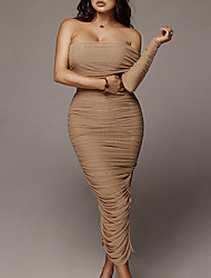 cheap -Sheath / Column Sexy bodycon Holiday Wedding Guest Dress Off Shoulder Short Sleeve Ankle Length Spandex with Sleek Pleats Ruched 2021