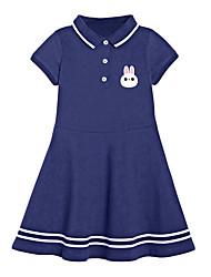 cheap -Kid's Little Girls' Dress Rabbit Q323 Cotton Short Sleeve Chic & Modern Cute Dresses