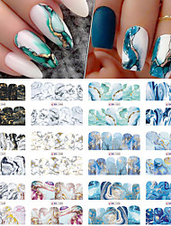 cheap -48 Pcs Gradient Marble Nail Stickers Flower Letter Leopard Cartoons Sliders for Nails Anime Water Transfer Decals