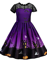 cheap -Kids Little Girls' Dress Graphic A Line Dress Print Purple Orange Midi Short Sleeve Gothic Costume Dresses Halloween Fall Winter Regular Fit 3-10 Years