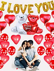 cheap -12 Inch Love Printed Balloon 18 Inch Love Hug Bear Confession Wedding Decoration Confession Valentine's Day Balloon Romance