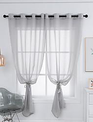 cheap -Semi Sheer Window Drapes Curtain Window Treatments 2 Panels Grey Plain Solid for Living Room Bedroom Patio Sliding Door